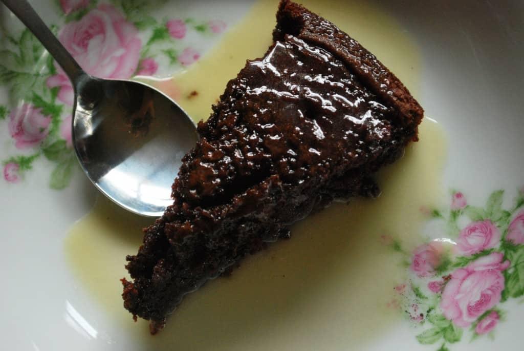 Chocolate Cake and Butter Sauce