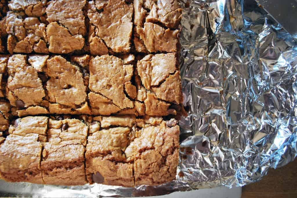 Peanut Butter Cup Cookie Bars in Foil