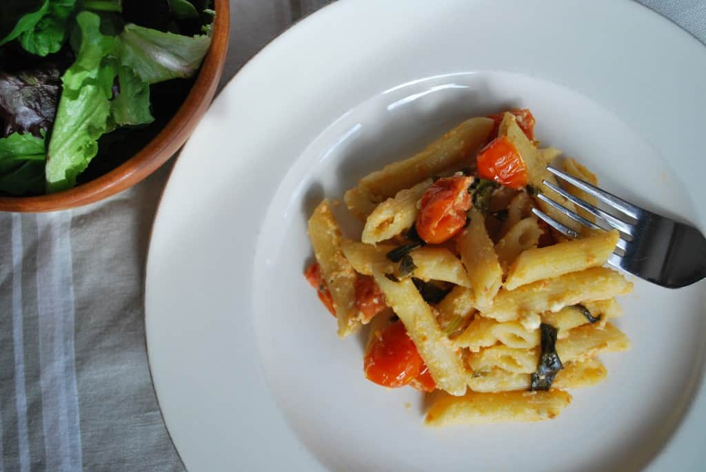 Penne with Tomato, Feta and Basil