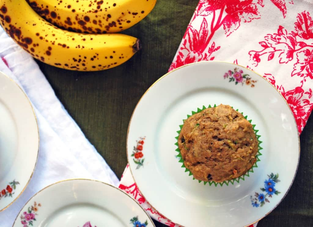 Zuchinni Banana Chocolate Chip Muffins