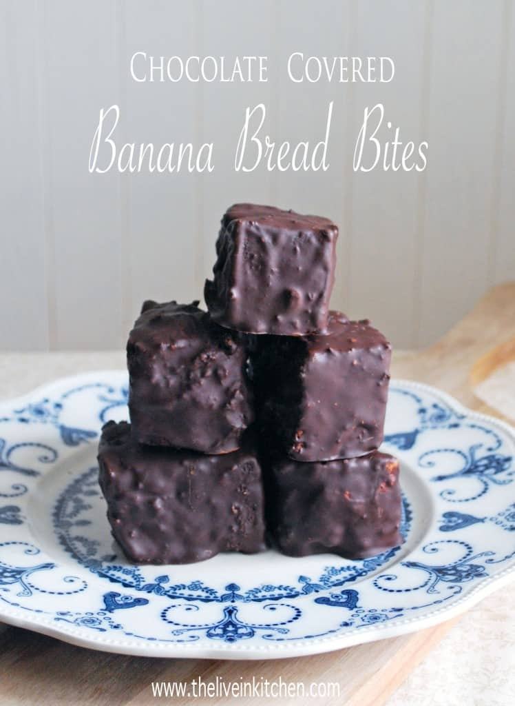 Chocolate Covered Banana Bread Bites