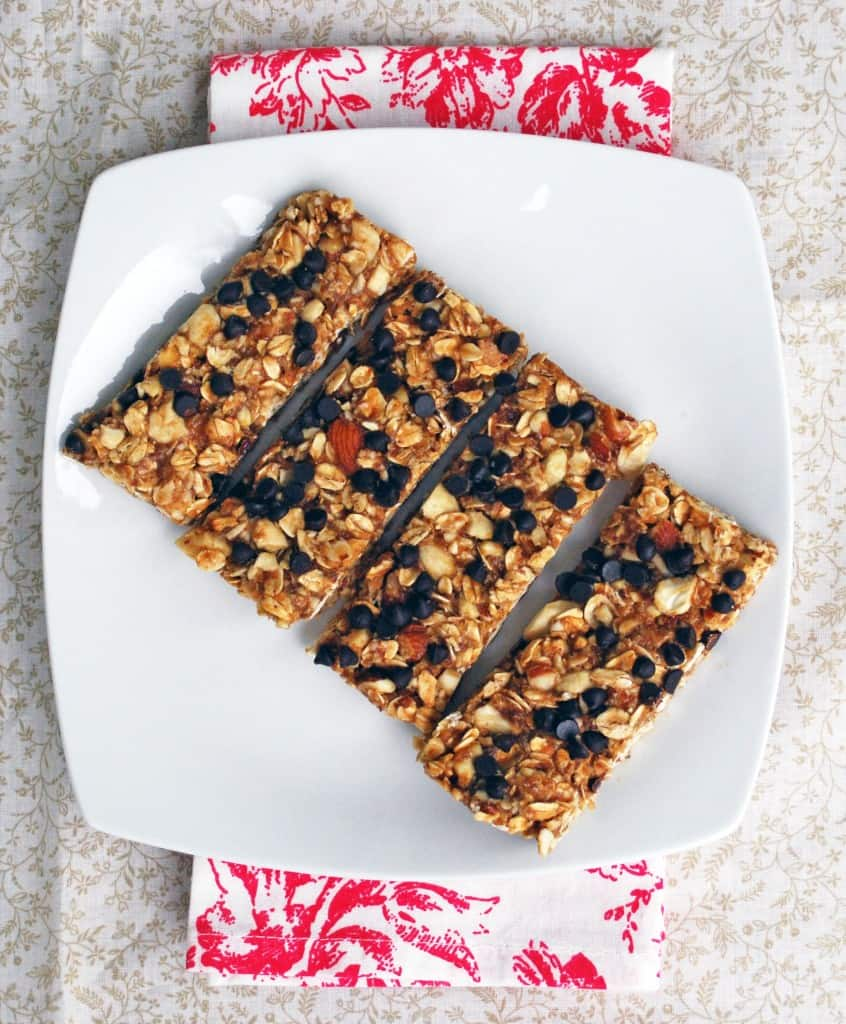 Nutty Chocolate Chip Vegan Granola Bars - The perfect, easily customizable homemade granola bar!