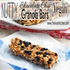 Nutty Chocolate Chip Vegan Granola Bars - The perfect, easily customizable homemade granola bar!
