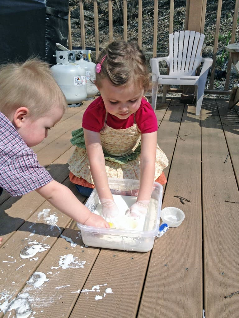Oobleck - a fun experiment to do with your kids. It acts like both a liquid and a solid!
