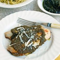 Pistachio Pesto Chicken with Spaghetti