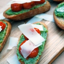Pesto and Oven Roasted Tomato Bruschetta