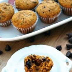 Mini Pumpkin Chocolate Chip Muffins - So soft, sweet, and satisfying!