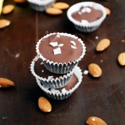 Dark Chocolate Banana and Almond Butter Cups