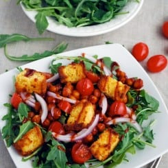 BBQ Chickpea Salad with Cornbread Croutons