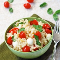 Caprese Couscous with Balsamic Drizzle