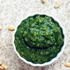 Homemade Pesto - So easy and full of flavor! Recipe at www.theliveinkitchen.com