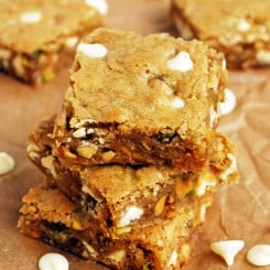 Brown Butter White Chocolate Pistachio Blondies