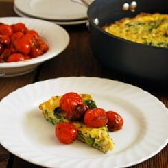 Vegetable Frittata with Balsamic Burst Tomatoes - A healthy, flavorful addition to any brunch! www.theliveinkitchen.com