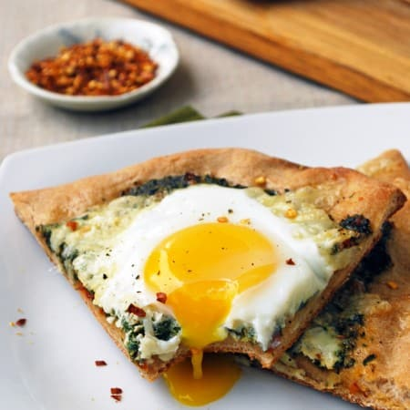 Spinach and Egg Pizza - A healthy twist on a classic, perfect for breakfast, lunch, or dinner!