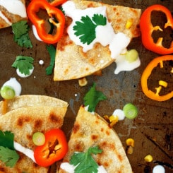 Corn and Sweet Pepper Quesadillas - SO MUCH flavor and texture! Need these now! | theliveinkitchen.com