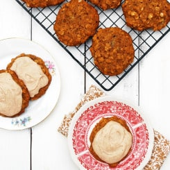 I am making these NOW! Summer Squash Oatmeal Cookies with Cinnamon Frosting