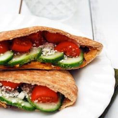 Greek Pita Sandwiches - These are SUPER healthy while still being filling and fun! Just what I need.