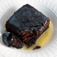 Chocolate Cake with Warm Butter Sauce