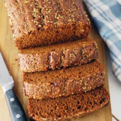 Pumpkin Gingerbread Loaf - This bread is sweet and spicy, soft and crunchy. That Turbinado sugar topping gets me every time! Full recipe at theliveinkitchen.com
