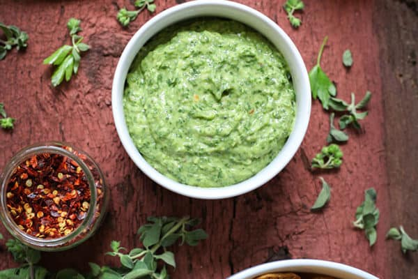 Avocado Chimichurri Chip Dip