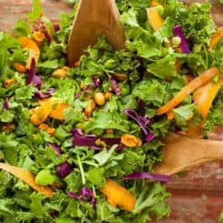 Gloriously Healthy Green Salad with Sriracha Peanut Dressing | theliveinkitchen.com @liveinkitchen