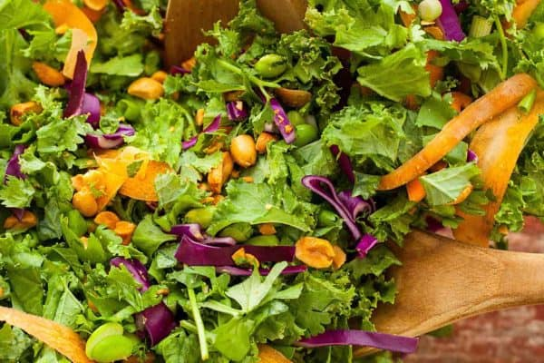 Gloriously Healthy Green Salad with Sriracha Peanut Dressing