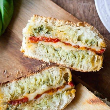Oven Roasted Tomato and Pesto Panini