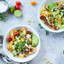 Vegetarian Chorizo Nachos with Lime Crema