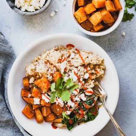 Roasted Sweet Potato Bulgur Bowl
