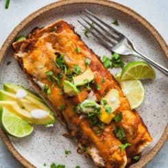 Vegetarian Chipotle Enchiladas | theliveinkitchen.com @liveinkitchen #vegetarian #enchiladas #chipotle #blackbeans #butternutsquash