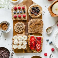 This Almond Butter Toast Bar is a wholesome buffet idea with endless possibilities! Gluten-free and vegan options. #buffet #party #almondbutter #toast #almond #healthy #pretty #easy