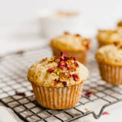 Pistachio Rose Muffins - A perfectly tender muffin made with ground pistachios and scented with rosewater. #rose #rosewater #pistachio #muffin #breakfast