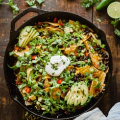 Campfire Nachos - An easy vegetarian meal idea for camping or outdoor cooking! Easily adapted to the stovetop. #camping #nachos #vegetarian #mealideas #mexican