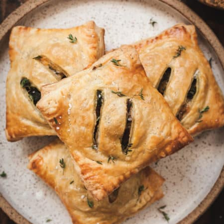 hot pie's hand pies on a brown plate