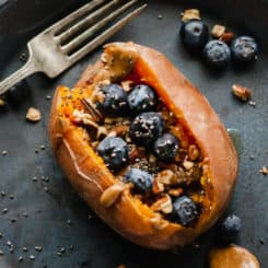 instant pot breakfast stuffed sweet potatoes