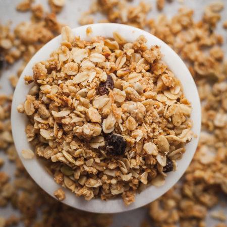 bran granola in a small white bowl